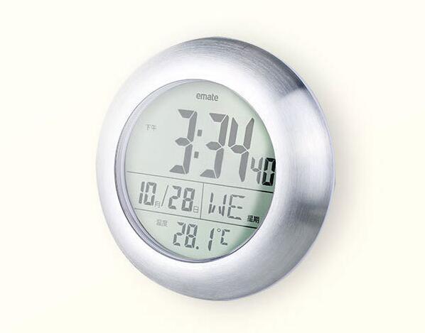 Mode wasserdicht badezimmer wanduhren glocke elektronische uhr temperatursensor display LCD runde form wohnkultur wanduhren