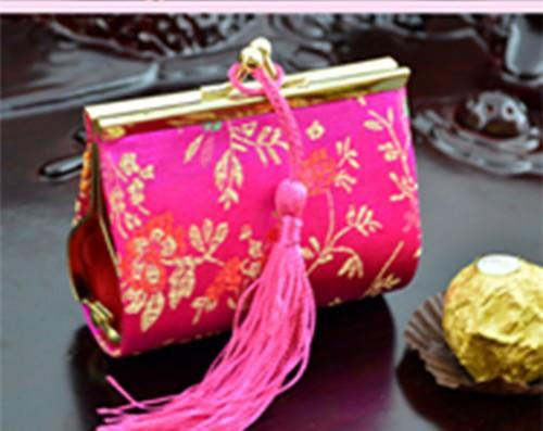 Creative Tassel Decorative Small Party Candy Favor Boxes Iron clamp Silk Gift packaging bags 10pcs /lot mix Color Free shipping
