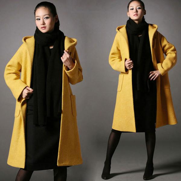 Großhandel Frauen Lange Wollmischung Mantel Mit Kapuze Lose Dicke Jacke Winter Warme Mantel Parka Mantel Stilvolle Dicke Wollmantel Winter Warme Lange