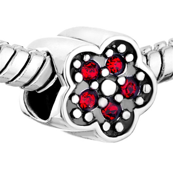 January Birthstone Siam Clover Flower European Charm Beads For Pandora Charm Bracelet