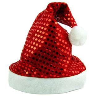 best selling 2016 Sequins Christmas Cap Christmas Hats Santa Cap Decoration hats Christmas gifts Red hats Free Size 29x38cm 12pcs lot