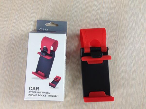 Universal Car Streeling Steering Wheel Cradle Holder SMART Clip Car Bike Mount for Mobile iphone samsung Cell Phone GPS Christmas Gift US013