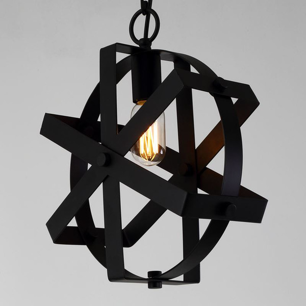 Amercian Countryside Orb Rust Black Color Led Pendant Lamp For Living & Bedroom Decorate Industrial Style Light