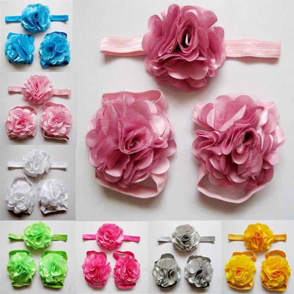 2015cute Fabric Satin Mesh Flowers For Headbands Baby Girls Barefoot Sandals And Headband Sets Children Headwear Shoes 10set /Lot