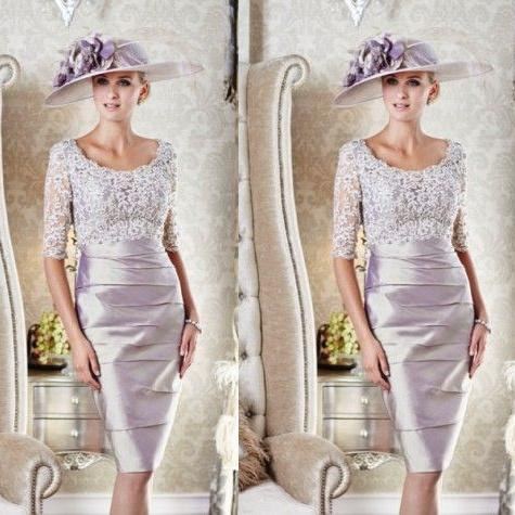 02f4938d104 Half Long Sleeve Mother Bride Dresses Knee Length Lace Mother of the Groom  Dress Scoop vestidos Ruched Wedding Mother Evening Gown Outfits
