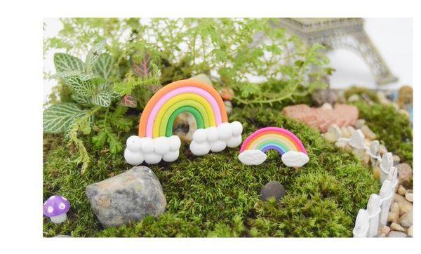 Rainbow Figurines DIY Zakka For Flower Pots Dish Garden Decorations Cute  Tiny Home Garden Bonsai Birthday