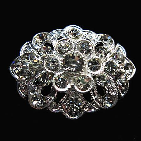 Free Shipping ! Rhodium Silver Planted Small Size Clear Crystal Rhinestone Nice Design Flower Pin Brooches For Wedding Bouquet