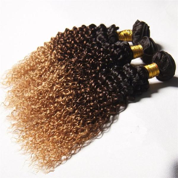 Mink Cabelo Ombre Kinky Curly Cabelo Grau 8A Brasileiro Virgem Extensões de Cabelo Encaracolado 1b 4 27 Três Tons Ombre Kinky Curly Bundles