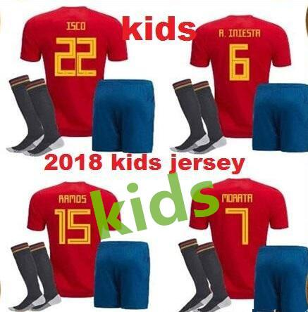 Spain kids Jersey 2018 RAMOS ISCO PIQUE SERGIO A. INIESTA M. ASENSIO THIAGO MORATA home soccer shirt Football uniforms Spain boys kits