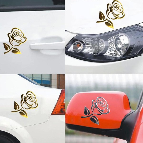 Atacado- 10 PCS 10.5 * 8.5 cm 3D Prata / Ouro Recorte Estéreo Subiu Veículo Do Carro PVC Logotipo Reflexivo Etiqueta Do Carro Decalque Flores Arte Venda Quente