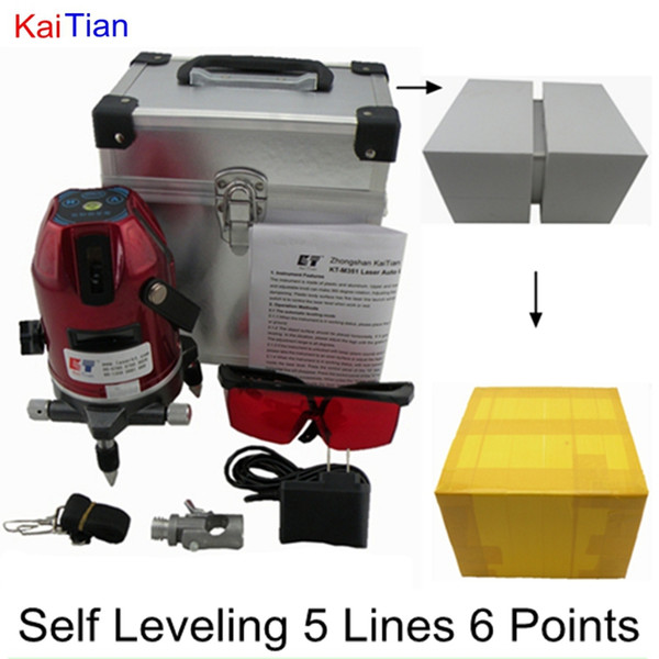 Wholesale-KaiTian Rotary Laser Level with Outdoor Tilt Function Euro Plug 635nM Lazer Level 5 Line 6 Point Self Leveling Cross Line Level