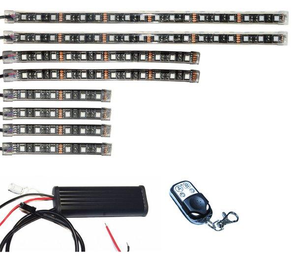 Kit luce subacquea flessibile per sottoscocca ATV motocicletta a strisce LED multicolore 8pcs 3 dimensioni RGB SMD5050 senza fili