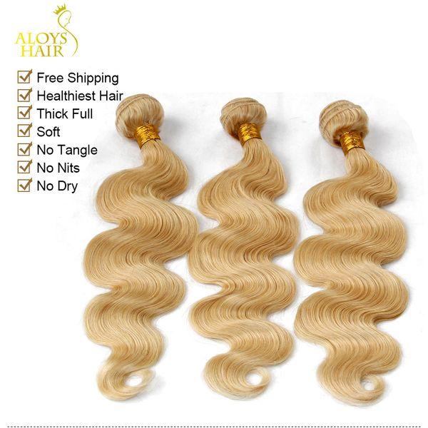 Platinum Blonde Indien Remy Extensions de Cheveux Vague de Corps Couleur ondulée 613 Bleach Blonde Indien Vierge Cheveux Weave 3 / 4Pieces Lot Tangle Libre