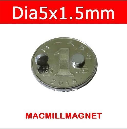 2016 Brand New Bulk Rare Earth Neodymium Permanent magnets Disc 500pcs/pack, Dia5x1.5mm, Mini magnets,Free Shipping