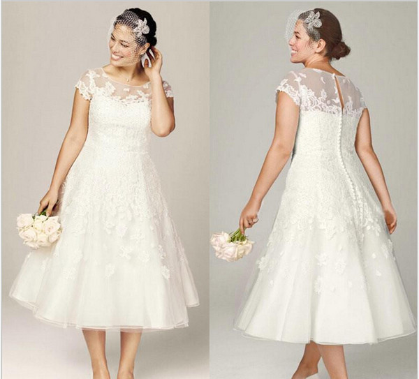 Discount Sheer Lace Wedding Dresses With Illusion Neckline Short ...