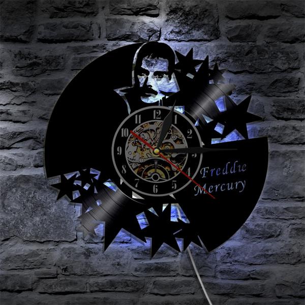 Queen Band Freddie Mercury Vinyl Clock Led Wall Light Vintage Record Handmade Gift Illuminated Atmosphere Decorative Lamp