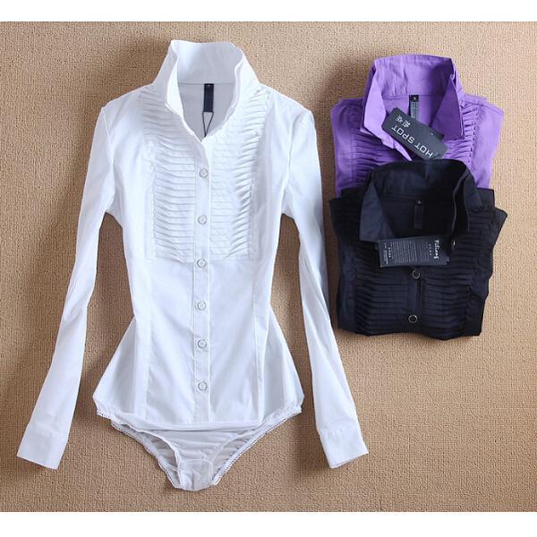wjsnow / Dupla camada Collared Shirts Organ Folding Plissados Mulheres Blusa Bodysuit Slim Fit OL Negócio Tops Camisas Macacão S / M / L / XL