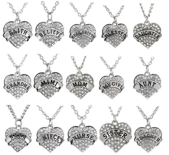 5PCS/lot Clear Rhinestones Heart Pendant Necklace With Aunt Blessed Hope Mom Grandma Daughter Etc. Word Letters Fit For Family Gift