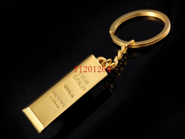 best selling 200pcs lot Free Shipping Wholesale Zinc Alloy Bullion Shaped Keyring Metal Novelty Gold Bar Keychain key chains