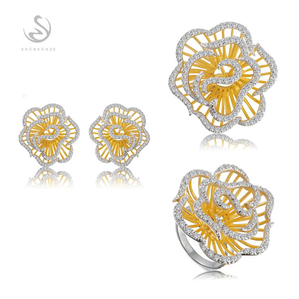 Punk Noble Generous S-3792sets White Cubic Zirconia Vintage Rose gold plated 925 sterling silver Promotion heart set (ring/earring/pendant)
