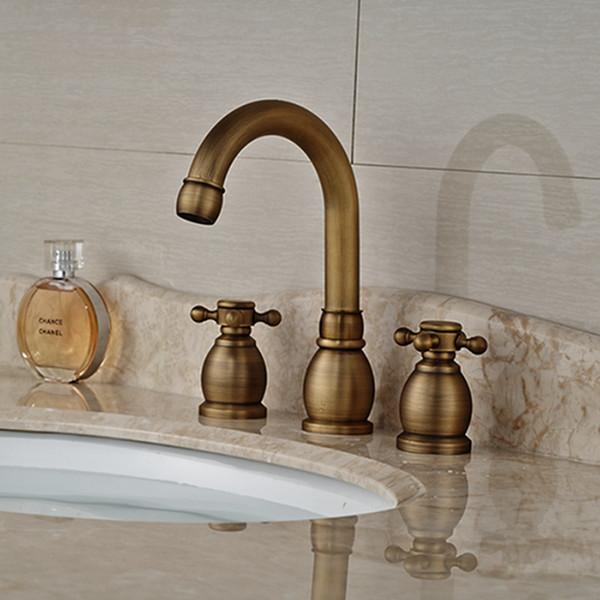 Antique centerset diffuso con valvola in ceramica due maniglie tre fori per ottone antico rubinetto lavandino del bagno