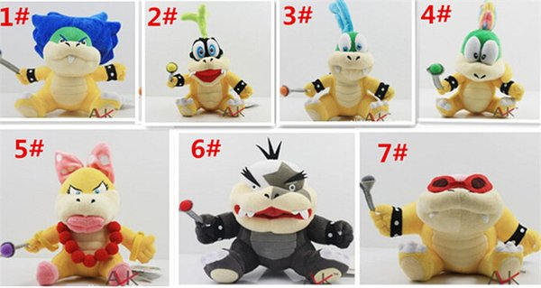 "60pcs Cartoon Super Mario plush toys Wendy/Larry/Lemmy/Ludwing/O. Koopa Plush Sanei 8"" Stuffed Figure Super Mario Game Koopalings Dolll D408"