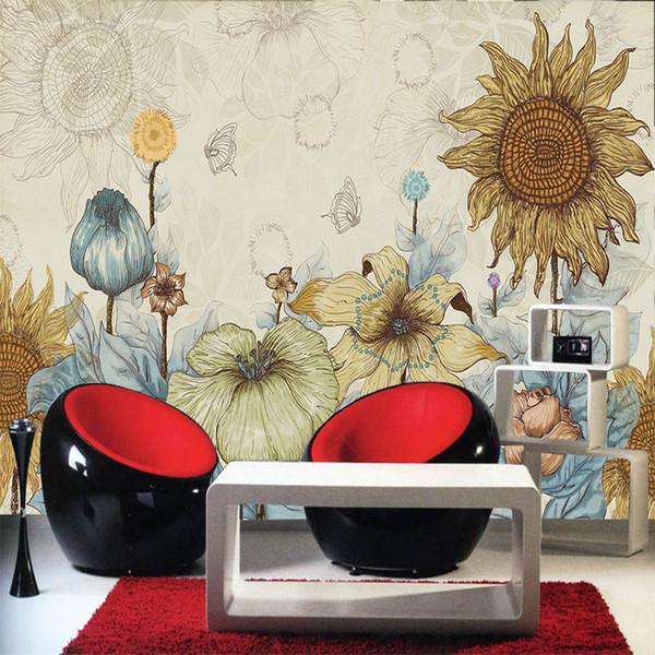 Gros-personnalisé décoration salon papier peint grande murale peinte tournesol TV toile de fond dessin animé abstrait rétro papier peint 1x3 m