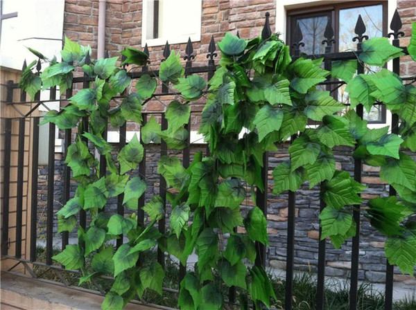 240cm Fence Artificial Silk Simulation Grape Leaf climbing vine Green Leaves rattan for Home Decor Bar Restaurant fence Decoration