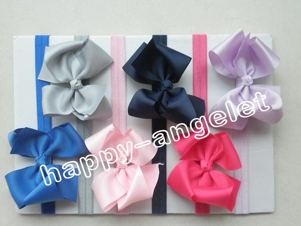 """50pcs hair accessories for girls 4.5"""" grosgrain ribbon bows flower baby headband Bowknot Iridescent stretchy hair band african gele SG8519"""