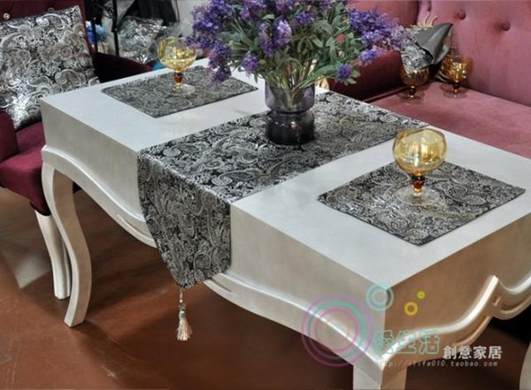 New Modern Luxury Ombre Flower Tablecloth Fashion Wedding Table Cloth Runner Hot Silver Embroidery Room Home Hotel Bedding Villa Decoration