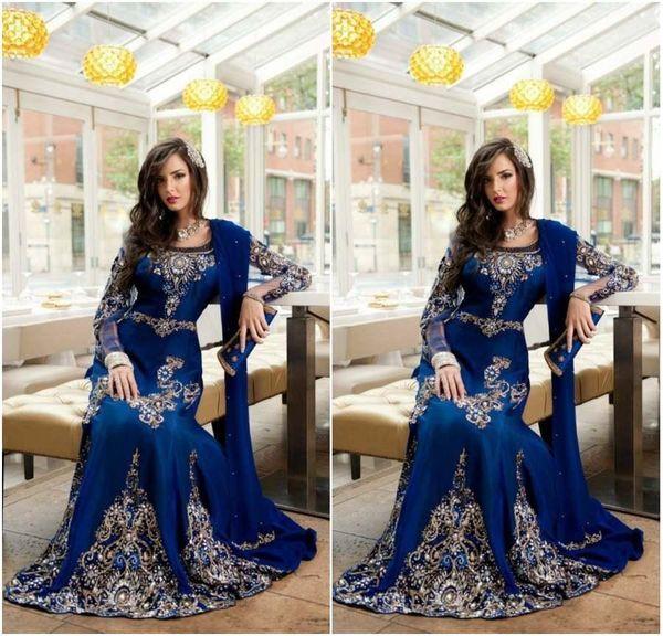 Винтаж Royal Blue Crystal Мусульманские Арабские Вечерние Платья 2018 С Аппликацией Кружева Абая Дубай Кафтан Длинные Плюс Размер Вечерняя Одежда BA0718