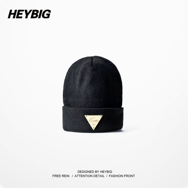 Wholesale-Heybig Brand Unisex Knitted Hats Autumn-Winter,Black Lovers' Knit Beanies Elastic,Street Hiphop Bboy Caps With Metal Triangle