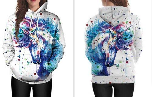 Autumn Winter Top quality Womens Long Sleeve colors Watercolor unicorn Hoodies sweatshirt Jumper pullover hoody Tops Blouse Coat M-2XL