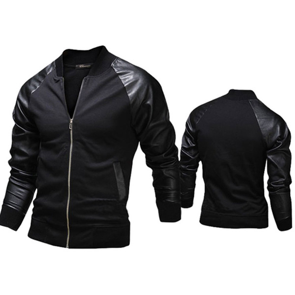 New fashion Jacket,Personalized Baseball Stitching Clothes Leather slim fit Jacket,2 color Outerwear & Coats For Men