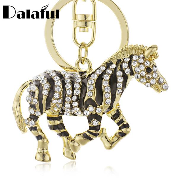 Beijia New Black Zebra Cavallo Rhinestone di cristallo Ciondolo in metallo Portachiavi Portachiavi Donna Portachiavi Portachiavi Per Auto K180