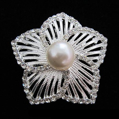 New ! Large Silver Planted With Cream Pearl Center and Clear Crystal Rhinestone Flower Bouquet Pin Brooch