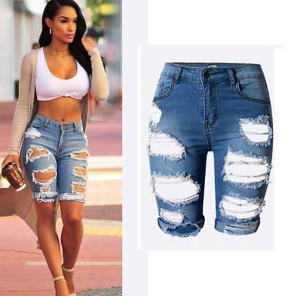 Wholesale- Sexy Womens Elastic Hole Short Pants Denim Shorts Ripped Jeans Trousers