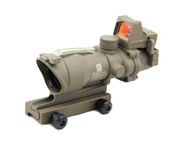 Nuevo Táctico Trijicon ACOG 4x32 Fuente de fibra real Verde Iluminado Rifle Scope w / RMR Micro Red Dot Dark Earth