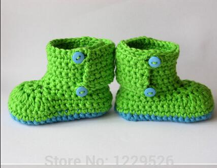 Infant Kids Boys Girls Green Crochet Shoes Slippers with aby shoes soft baby booties for 0-12 months baby custom