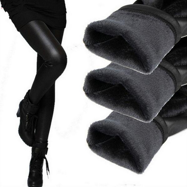 Warme gestrickte starke dünne Gamaschen Super elastische Gamaschen für Frauen Ankunfts-beiläufige Faux-Samt-Kunstleder Legging reizvolle Hosen wholesaleS-XXXL