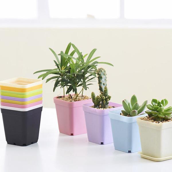 Newest Bonsai Planters Plastic Table Mini Succulents Plant Plate Gardening Vase Square Flower Pot Colorful free shipping