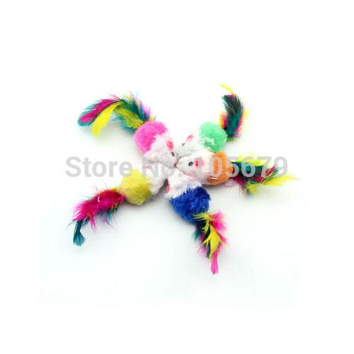 wholesale-100 pcs sell pet supplies colorful feather grit small mouse cat toy color random mix t1017