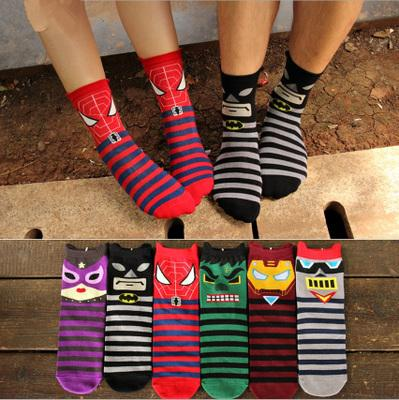 best selling Hot new men's cotton socks animal pattern superhero cartoon Spider cartoon dimensional cotton warm socks cute cartoon socks