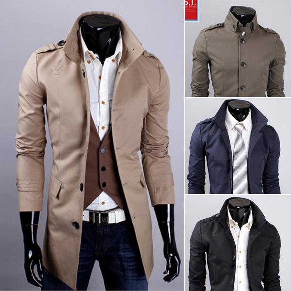 2017 2015 New Fashion Men Cotton Coats Winter Woolen Slim Trench ...