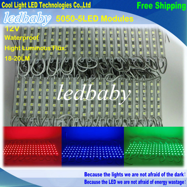 5050 5 LED Module DC12V Étanche ip65 éclairage LED Modules de rétroéclairage de signe Modules de boîte lumineuse 20PCS / Lot