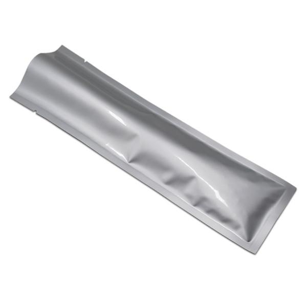 100 PCS Long Silver Open Top Aluminum Foil Package Bag Heat Seal Vacuum Storage Mylar Foil Pouch Coffee Powder Tea Snack Retail Packing Bags