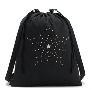 top popular 2016 Cheap bag New Black Sports Canvas Drawstring Bucket Bag Outdoor Sports Backpack Casual Star Pocket Bag 2019