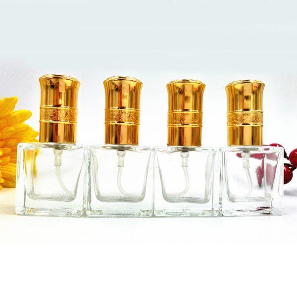 10ml Portable Glass Perfume Bottle Cute Empty Makeup Fragrance Atomizer Gold Lids Pump Sprayer Bottle Promotion 10pcs/lot DC867