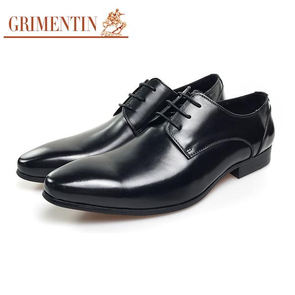 GRIMENTIN Hot sale fashion designer formal mens dress shoes genuine leather black men oxford shoes for business wedding male shoes OM