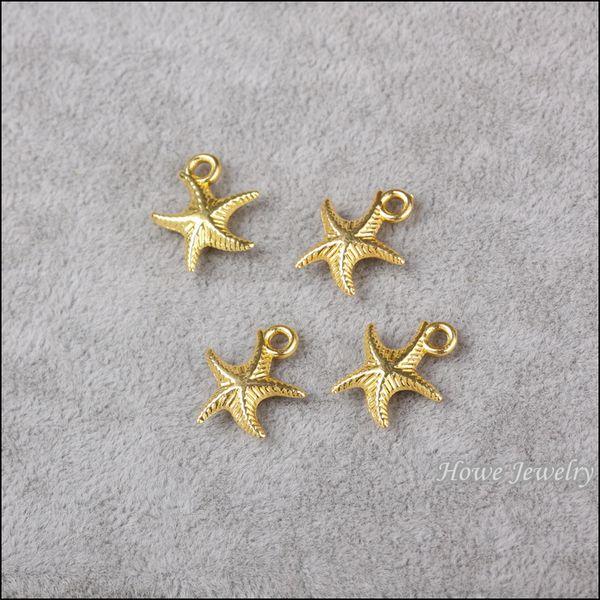 Мода подвески животные Морская звезда золотой сплав кулон металл подходит браслеты ожерелье DIY ювелирные изделия аксессуары Поиск 180 шт. 17*14 мм 800110